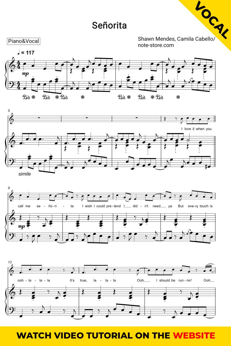 Shawn Mendes Camila Cabello Senorita Sheet Music For Piano Download Piano Sheet Music Sheet Music With Letters Sheet Music