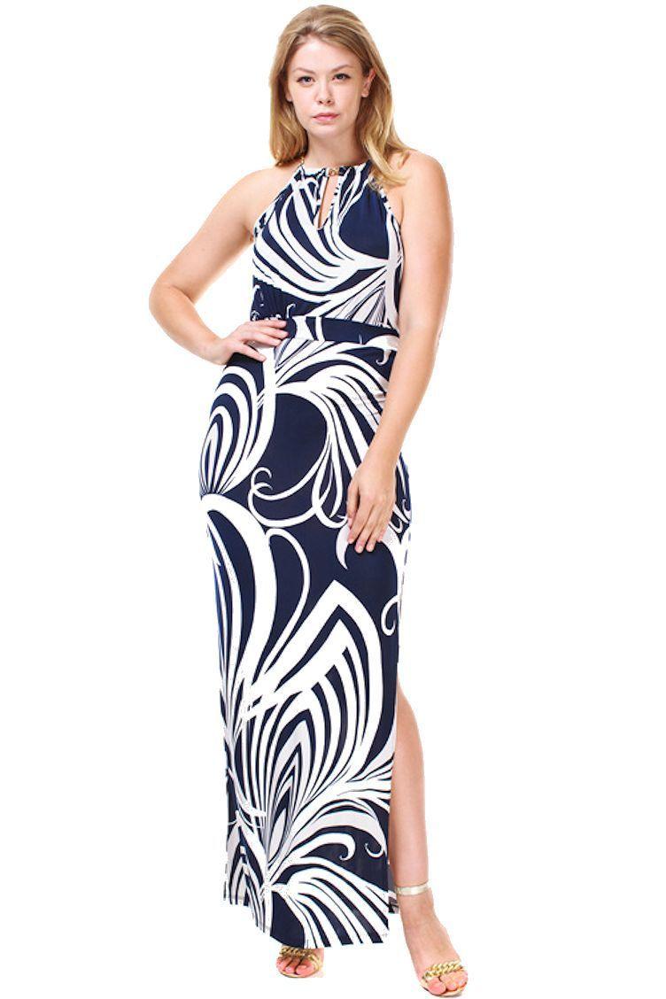 Plus size navy blue and white swirl halter maxi resort dress