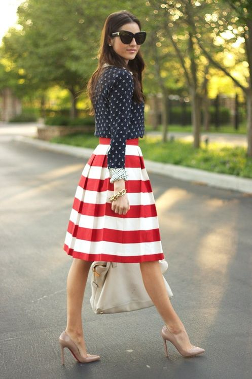 red & white stripes - no hiding in this bold pattern skirt!