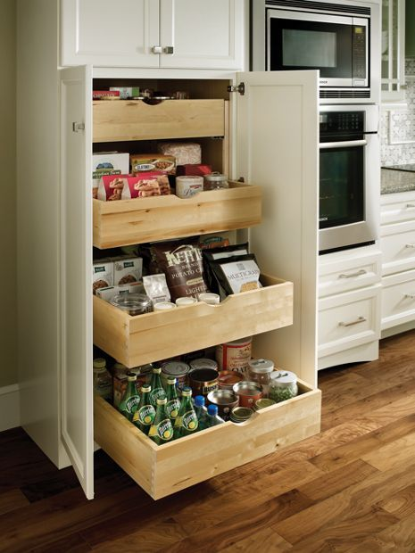 Tall Cabinet with Deep Roll-Out Trays | Medallion cabinets ...