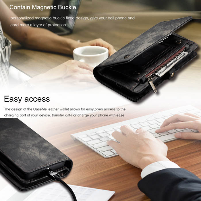 CaseMe Samsung Galaxy A80 Wallet Magnetic Detachable Case Black