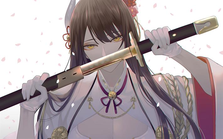 Download wallpapers Hiei, manga, katana, sword, Azur Lane