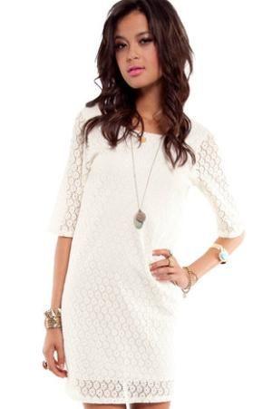 Lace Stitch Dress in Off White :: tobi