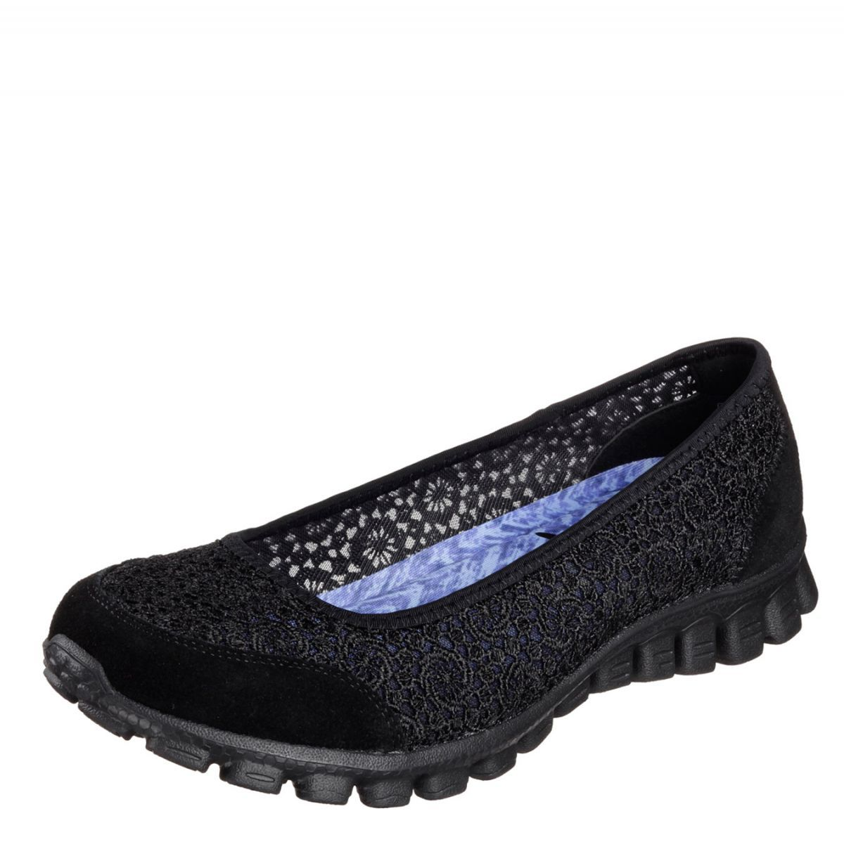 Skechers EZ Flex 2 Flighty Black Memory Foam Flat Ballet ...