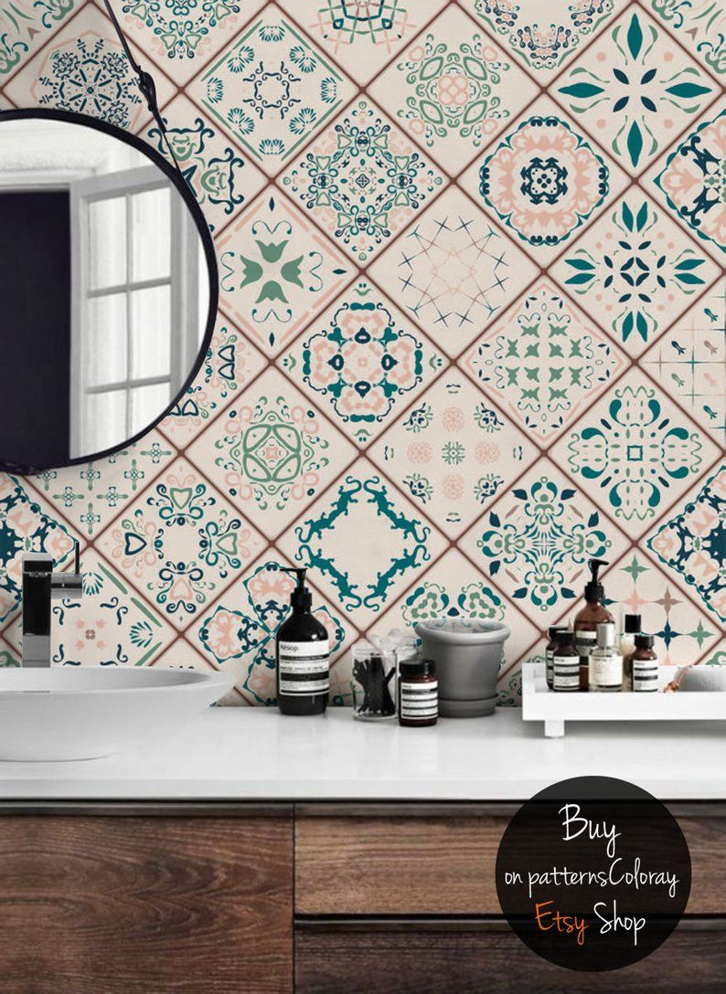 Tiles Composition Removable Wallpaper Geometric Pattern Etsy Removable Wallpaper Temporary Wallpaper Self Adhesive Wallpaper
