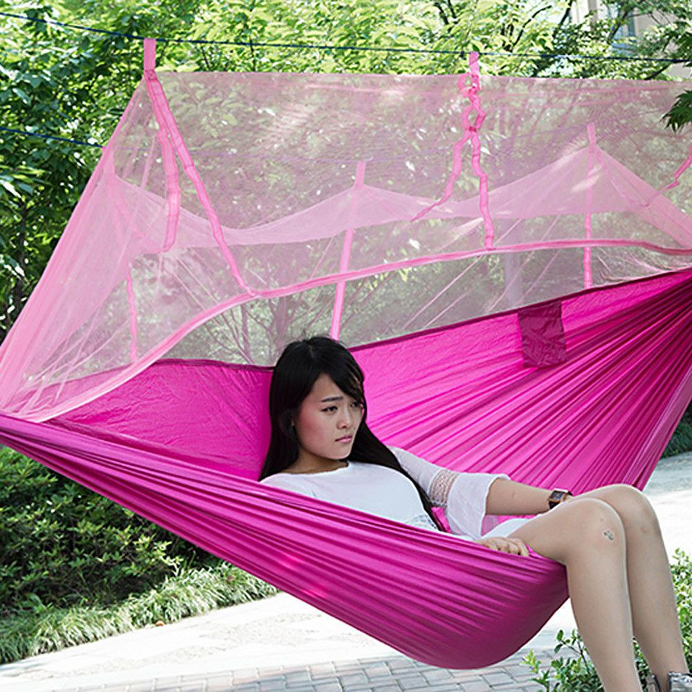 Single person portable parachute fabric mosquito net hammock for
