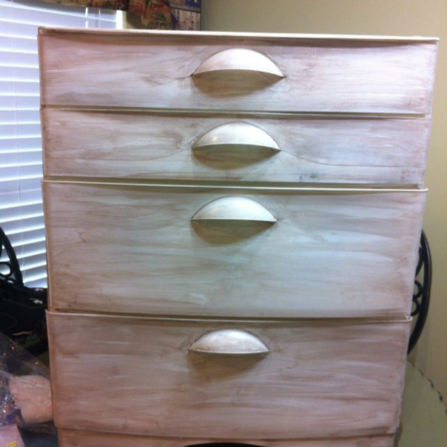 I Painted This Plastic Rubbermaid Dresser Then Used A Stain To