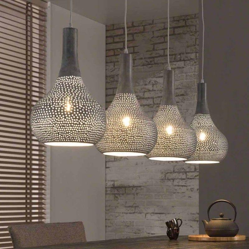 130cm Breite Pendellampe In Grau Mit 4 Schirmen Kegelform Vegas Lampen Lampen Wohnzimmer Lampen Esszimmer