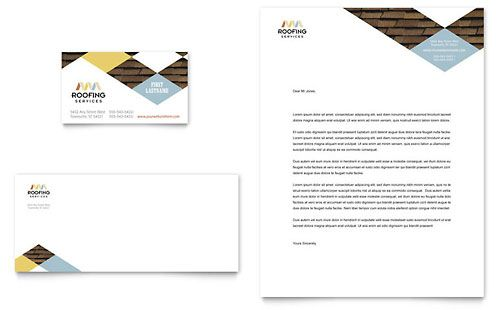 Roofing Contractor Business Card  Letterhead  Word  Publisher