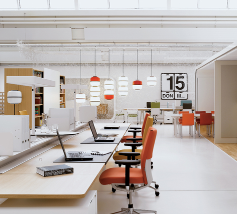 Clean office, open office space with pops of color... | Open ...