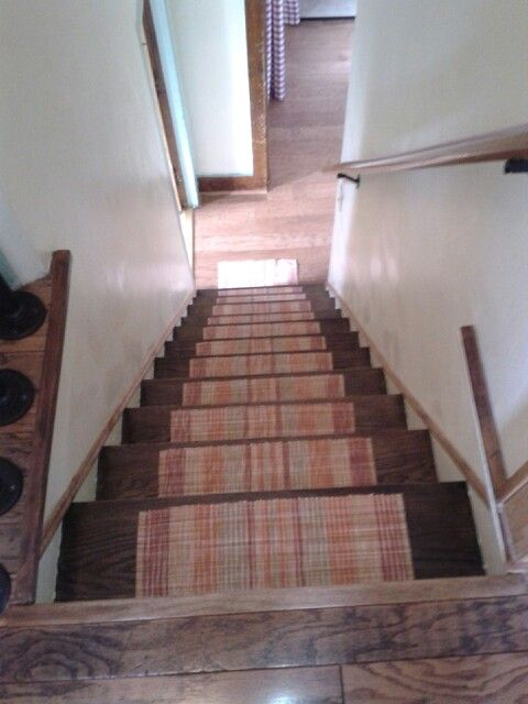 CARPET PAD STAIR TREADS, From Placemats Cut To Size. Edges Hemmed. Sewed Carpet  Pad On Back. Used Double Sided Carpet Tape To Attach