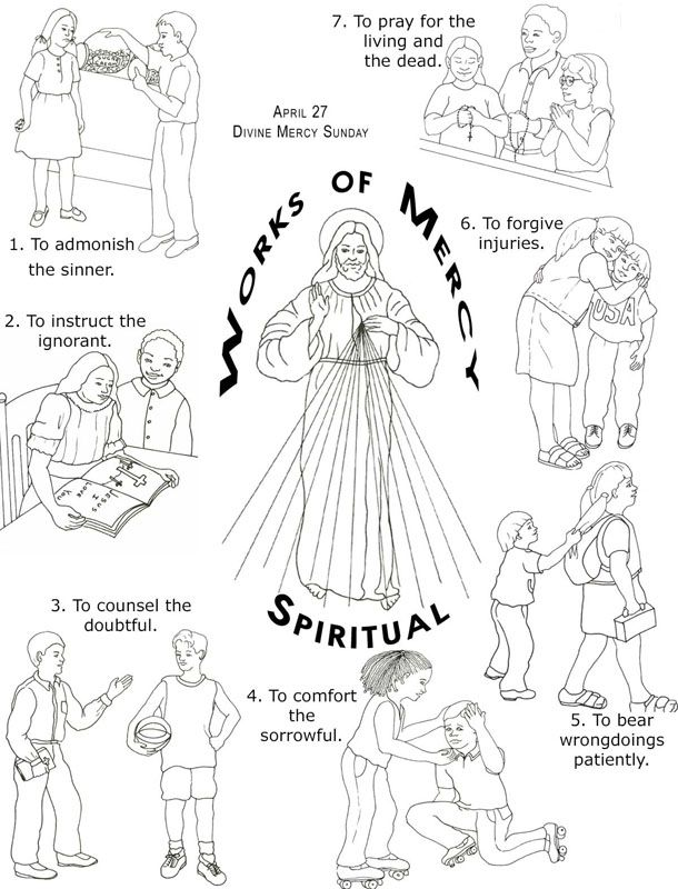 Corporal Works of Mercy Coloring | Friends of Jesus & Mary / 18 ...