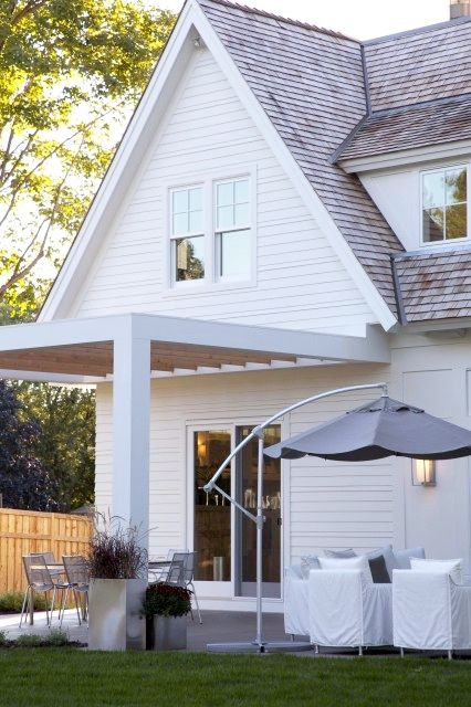 Pergola And Shaker Style Wall For Side And Front Porches Modern Farmhouse Exterior Modern Pergola Contemporary Patio