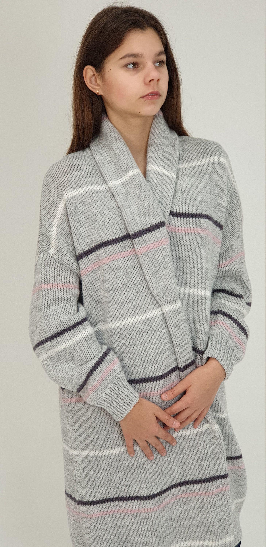 Gray Cozy Oversized Cardigan. Loose Chunky Knit Cardigan