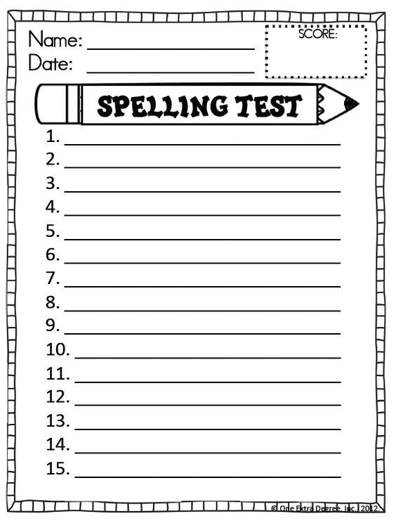 FREE Printable Spelling Test Template spelling test paper to - check registers