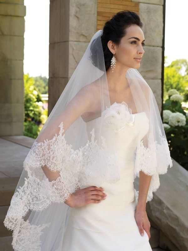 Cathedral cut ivory white 3m 1t long wide lace purfle for Long veils for wedding dresses