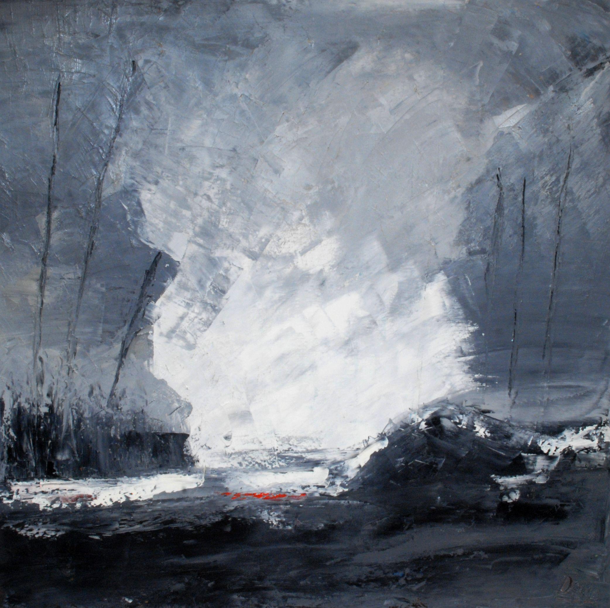 Huile sur toile paysage abstrait peinture au couteau 100 x 100 cm peintures l 39 huile - Peinture au couteau huile ...