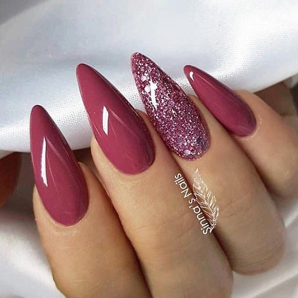 Repost Raspberry Pink And Glitter On Long Almond Nails Picture And Nail Design By Sinnas Nails Follow Her Nagel Zubehor Nagellack Nageldesign