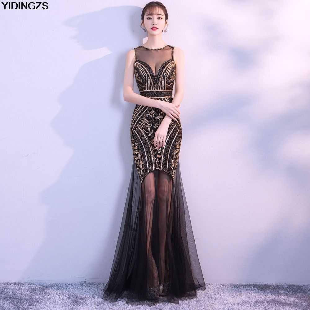 YIDINGZS Black Gold Sequins Beading Long Evening Dresses Sexy Prom Party  Dress New Arrive eef3d719add9