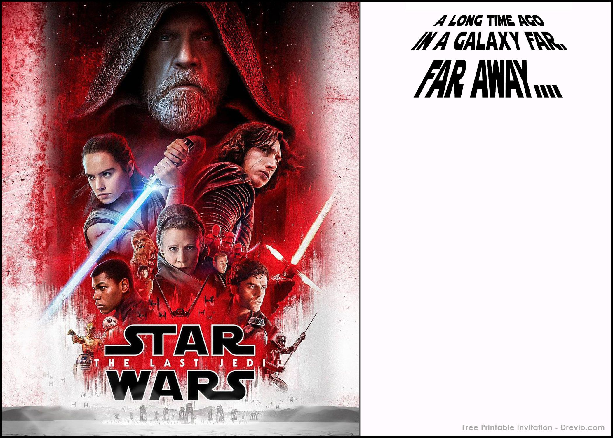 FREE Printable Star Wars the Last Jedi Invitation Template ...