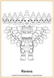 Image Result For Ravana Mask Coloring Pages Diwali Story