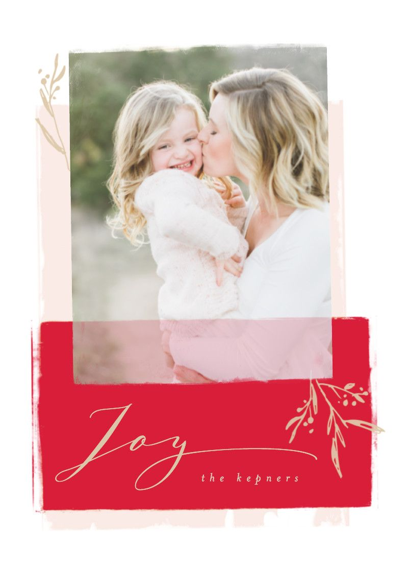 Modern red, white, and pink holiday photo card with real gold foil ...