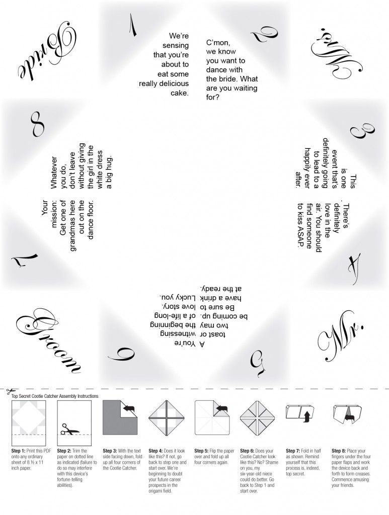 wedding cootie catcher with cute prompts love it table