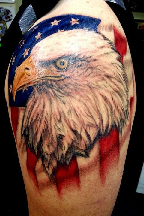 Bald Eagle And American Flag Tattoo : eagle, american, tattoo, Patriotic, Eagle, Tattoo, American, Background., Color, #america, #americanflag, Tattoos,