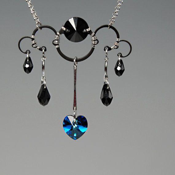 Kuiper Belt v11: Modern industrial necklace wth Bermuda Blue Swarovski crystal accents