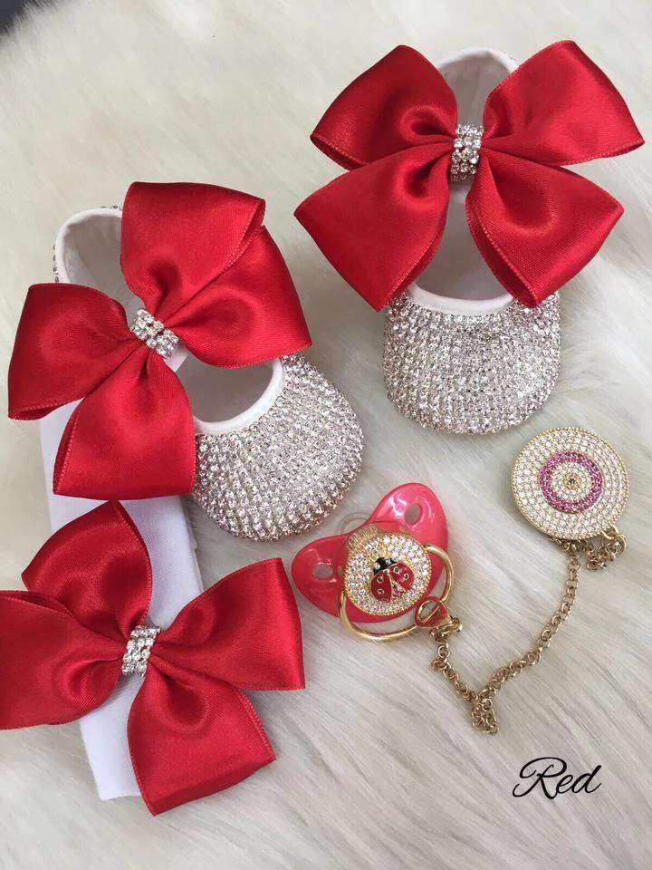 Beautiful Bow Rhinestone Baby Shoes