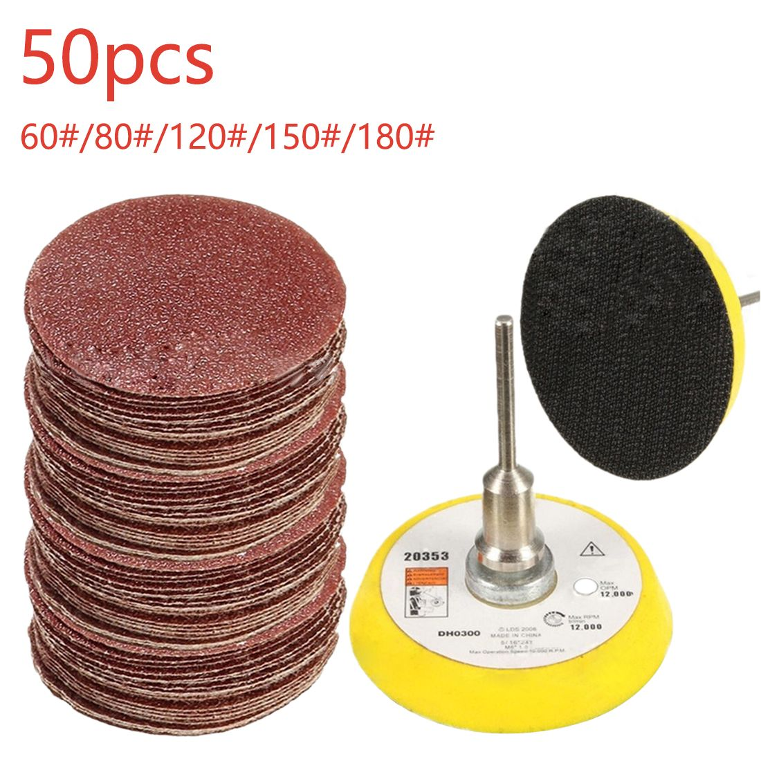 50pcs Sander Disc Sanding Pad Polishing 50mm 60 180 Grit Paper 1pc Hook Loop Plate Fit Dremel 4000 Electric Gr Dremel Tools And Accessories Wood Carving Tools