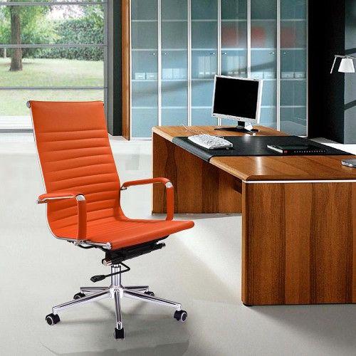 A Yescom Executive Ergonomic Office High Back Pu Leather Swivel Computer Chair Orange Xl Leather Office Chair High Back Office Chair Office Chair