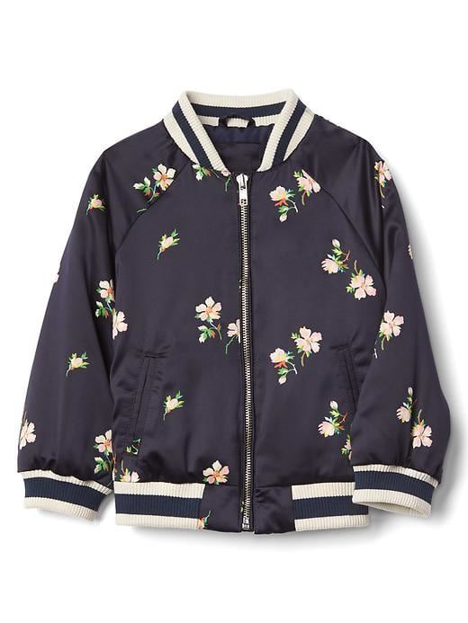 d4a39fea1 Gap Baby Floral Satin Flight Jacket Navy Print