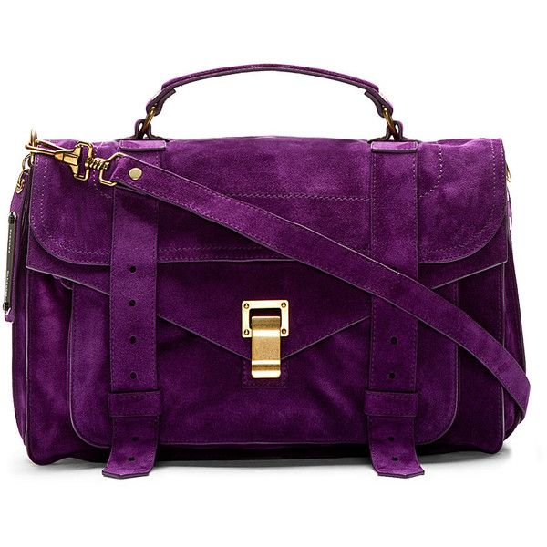 Suede messenger bag in purple. Brass-tone hardware. Removable adjustable  shoulder strap with lobster clasps. Single carry handle. 99a77e5f785e0