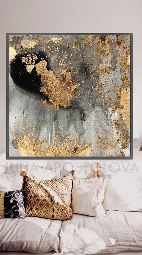 Photo of 45 '', grigio oro e nero, acquarello grande riproduzione foglia d'oro arte astratta per interni moderni, stampa su tela XXL dipinto di Julia