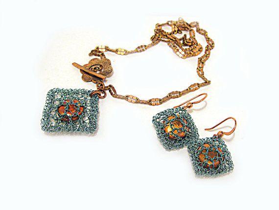 Seafoam Teal Blue Copper Pearl Pendant Earrings Set by FestiJe, $69.00