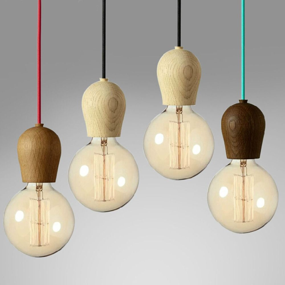 diy lighting design. Single Head DIY Wooden Droplight E27 Japanese Design Colored Wire Pendant Light Retro American Country Loft Diy Lighting Pinterest