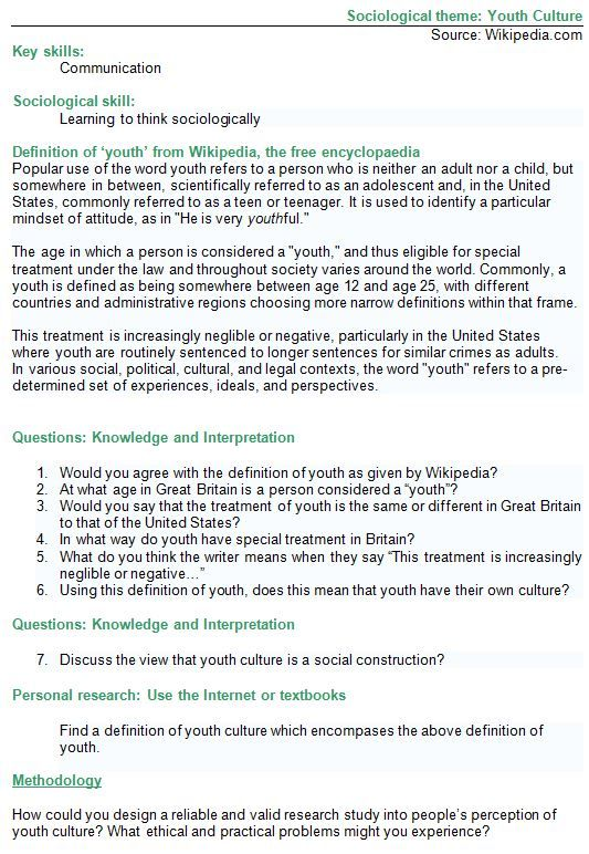 How do you define a youth culture? Sociological theme Youth Culture