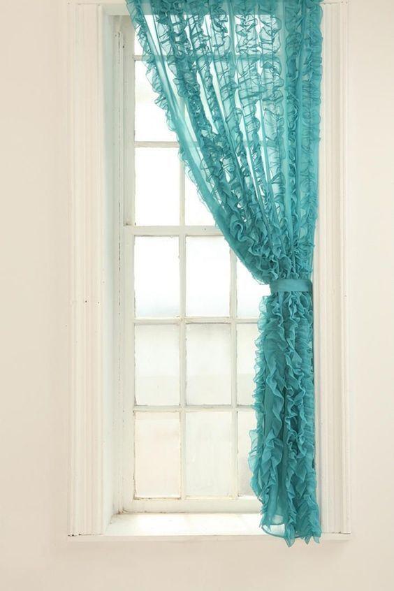 vorhänge türkis organza gardinen ruschen schleife: | Perde