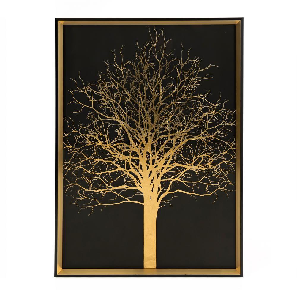 Zentique Tree Art Print Wall Art By Black Gold In 2021 Tree Art Black Background Painting Wall Art Prints