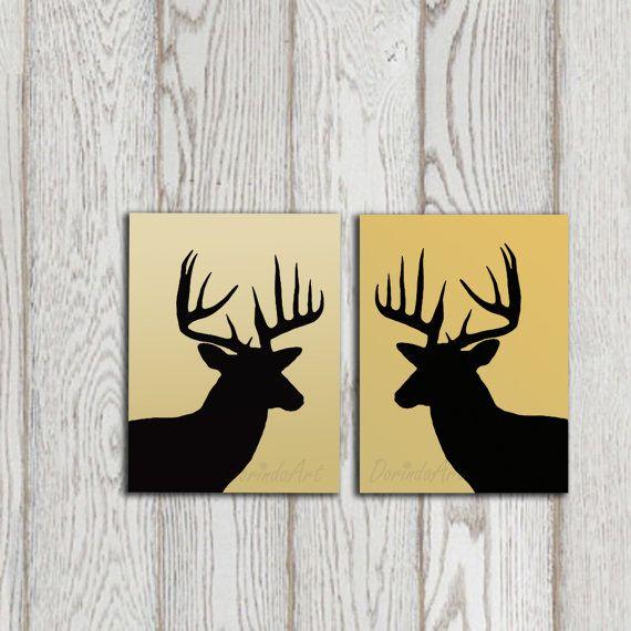 Deer art print Set Deer head decor Black deer by DorindaArt, $9.00