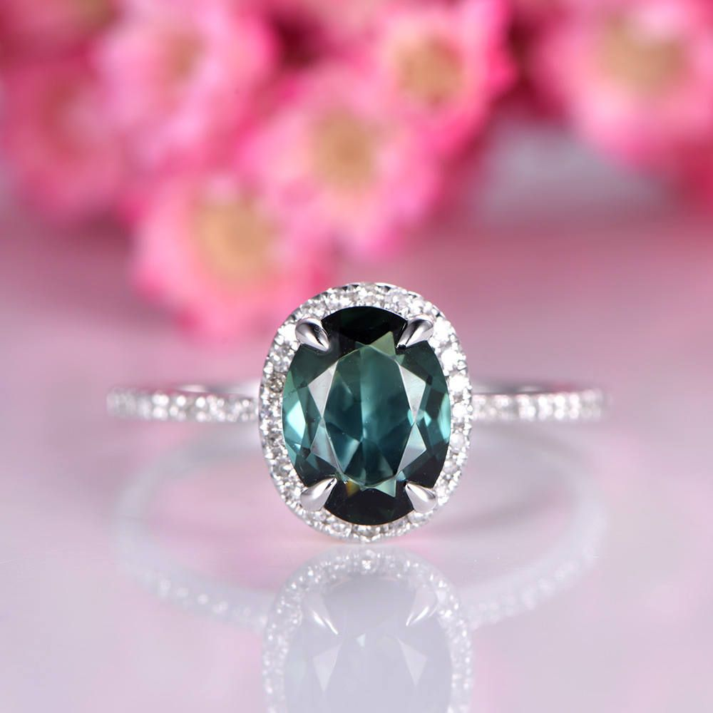 engagement rings tourmaline with gemstone diamond cut ring halo cocktail green emerald