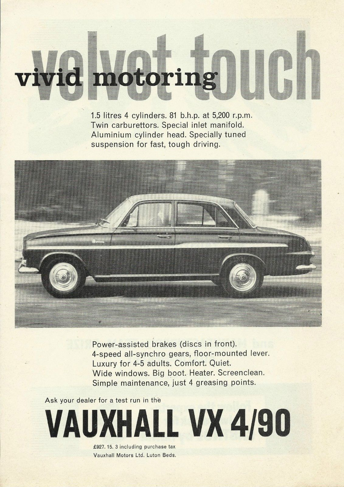 VAUXHALL VX 4/90 FB original 1962 UK magazine advert cutting \'vivid ...