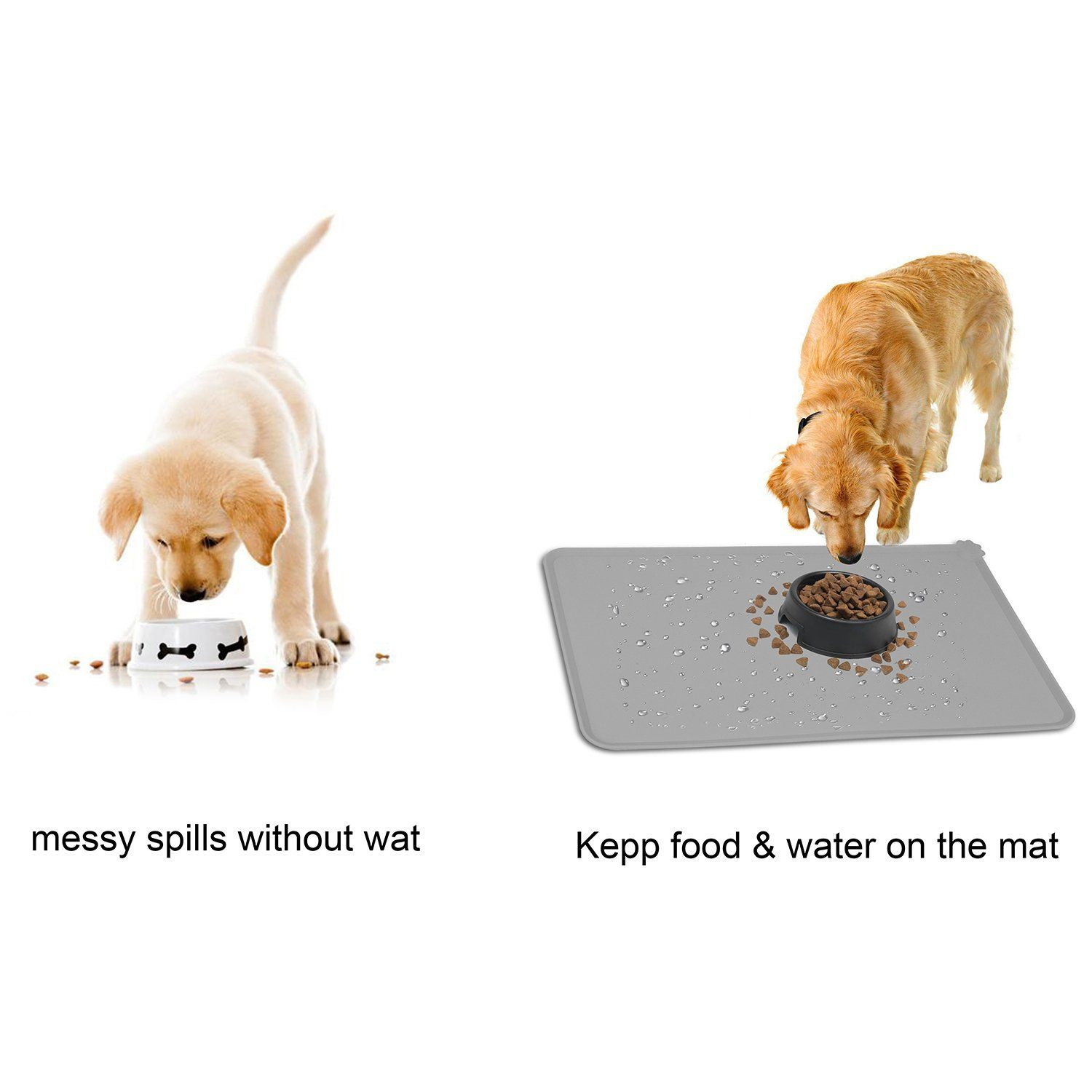 Hoosun Pet Food Mat Pet Silicone Bowl Mat Pet Feeding Mat Waterproof Dog Cat Mat Premium Silicone Fda Grade Nonstick Nons Pet Food Mat Cat Feeding Dog Food Mat