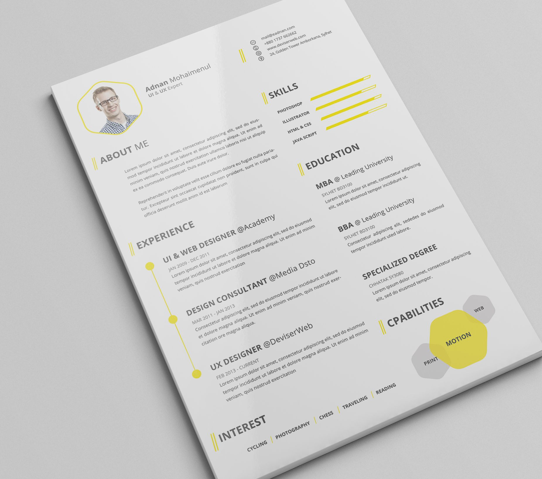 Check Out This Behance Project Premium CvResume Psd Template