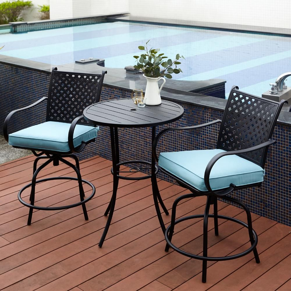 Peaktop Black 3 Piece Swivel Steel Bar Height Outdoor Patio Bistro Set With Blue Cushions Pt Of0001 The Home Depot In 2020 Bistro Patio Set Bar Height Patio Set Patio Bar Table