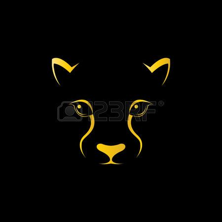Vector image of an cheetah face on black background