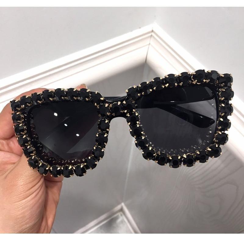 29dc44b192c51 2018 Sunglasses Women Square Vintage glasses Bling Black Rhinestone Su –  KOREAIDOLFEVER