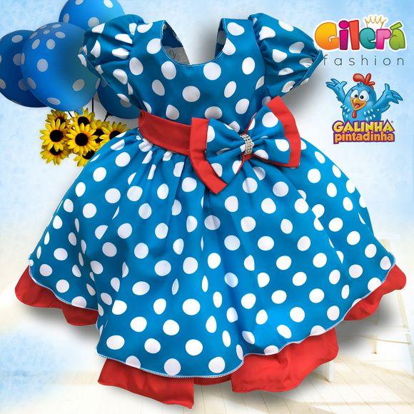 2bd90aeb3 Vestido Infantil Tema Galinha Pintadinha - Gilerá Fashion O Vestido Infantil  com Tema A Galinha Pintadinha