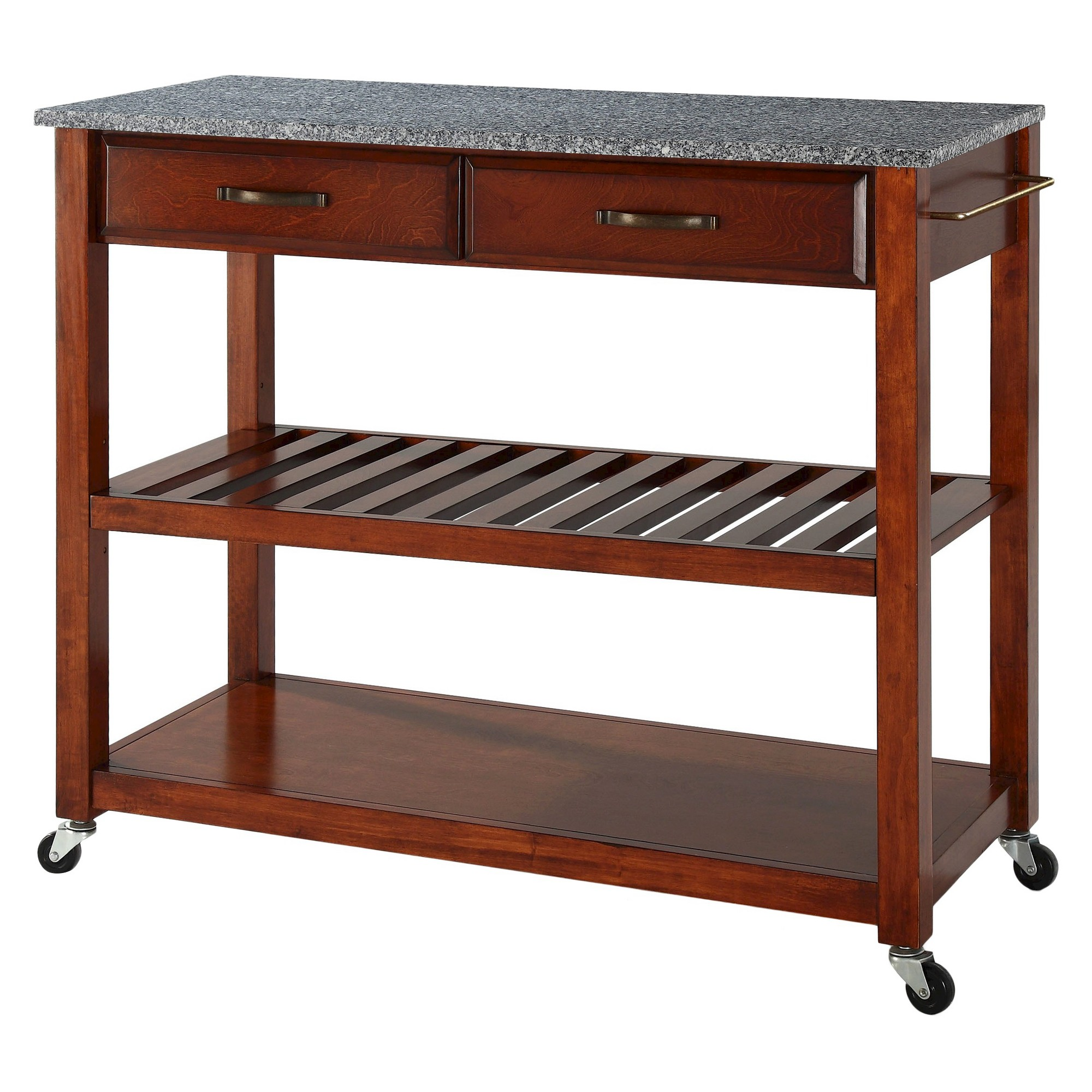 Solid Granite Top Kitchen Cart/Island With Optional Stool Storage ...